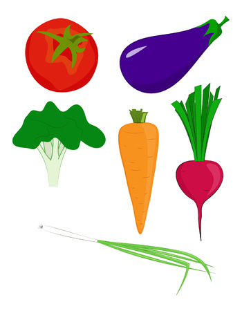 Set of different vegetables. Cartoon vector illustration. Standard-Bild - 109672915