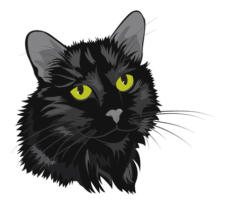 Portrait of a black cat with green eyes. Cartoon vector illustration.
