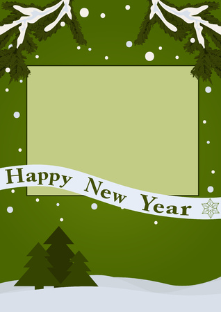 Happy new year card. Empty frame on a green background with snow and fir trees