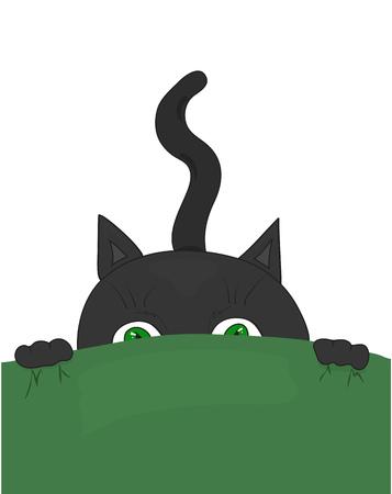 Black cat with green eyes sitting in ambush. Cartoon vector illustration. Vector Illustration