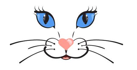 Museau de chat. Grands yeux bleus et nez rose en forme de coeur. Illustration vectorielle de dessin animé.