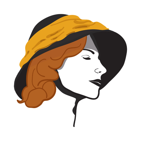 Portrait of a beautiful girl with red hair in a hat. Vector illustration