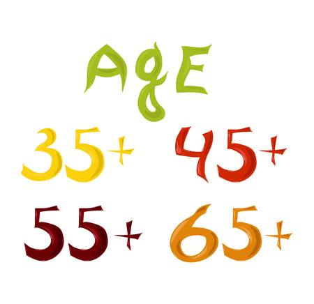 Multicolored numbers signifying different age groups. Vector illustration Illustration