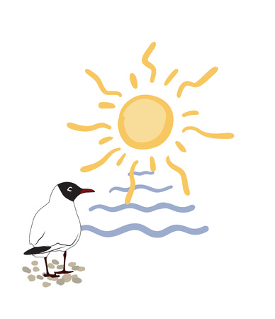 Stylized illustration. A seagull stands on a pebble, in front of it is the sea and the sun Ilustração
