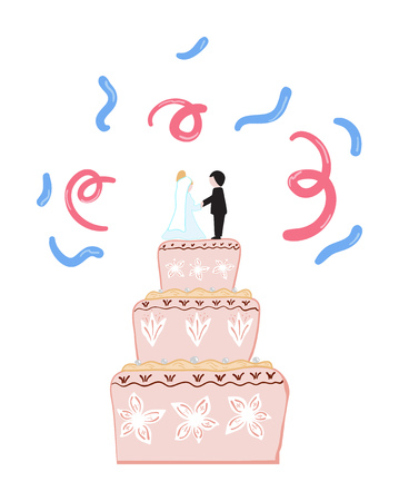 Pink wedding cake with figures of the bride and groom. Vector illustration