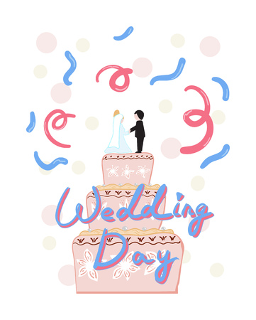 Invitation to the wedding with a pink cake. Vector illustration Ilustração