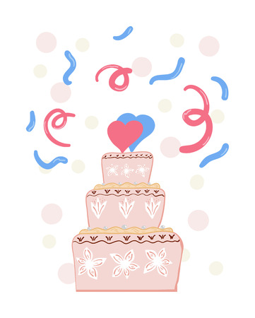 Pink wedding cake with two hearts. Vector illustration Ilustração