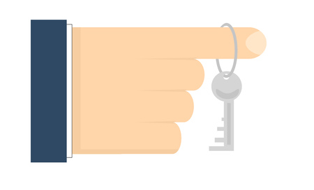 Flat style illustration. Human hand with apartment key on index finger.