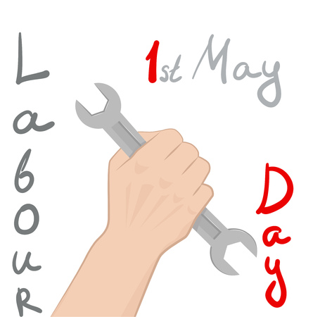 Poster Labor Day. Text and male hand with a wrench. Vector illustration