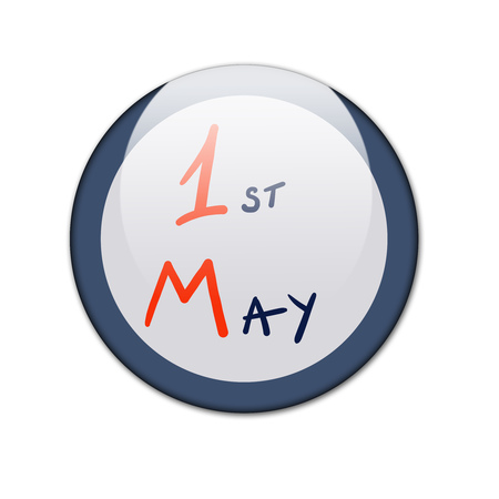 Round badge with text First May. Simple design Imagens