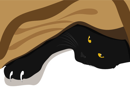 The black cat lies under blanket. Paw with large white claws. Cartoon vector illustration