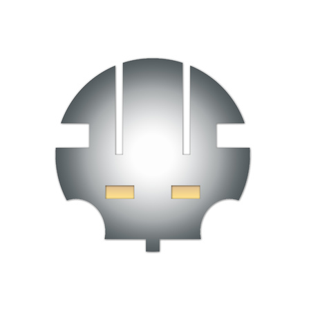 Abstract design. Metal helmet, the head of a robot with yellow eyes. Imagens