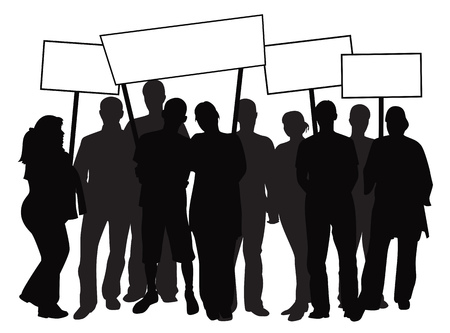 Silhouettes of protesting people with banners. Vector illustration