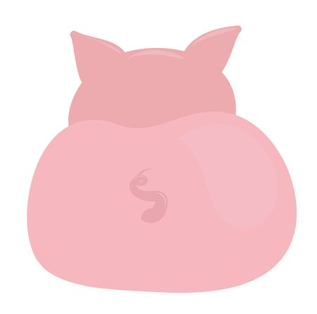 Pink pig back with funny tail. Vector illustration  イラスト・ベクター素材