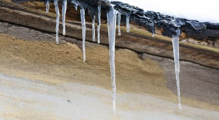 Little icicles begins to melt. Early spring Reklamní fotografie