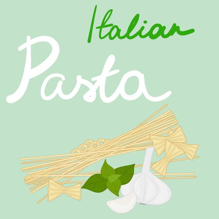 Card with the text Italian pasta. Vector illustration