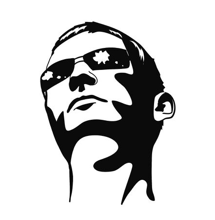 Black and white portrait of a young guy in sunglasses. Vector illustration