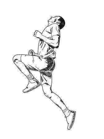 Schnell laufender Kerl in kurzen Hosen. Vektorillustration, Skizze.