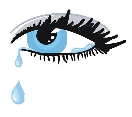 Ojo azul femenino con lágrimas. Ilustración vectorial Ilustración de vector