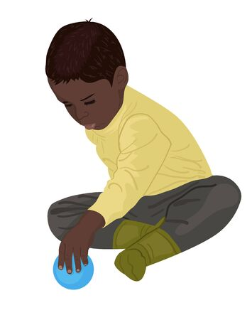 Little boy plays with a ball. Child in green clothes. Vector illustration