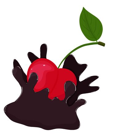 Red sweet cherry in a splash of chocolate. Vector illustration