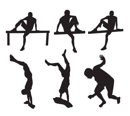 Set of  guy silhouettes in different poses, in action and rest. Vector illustration