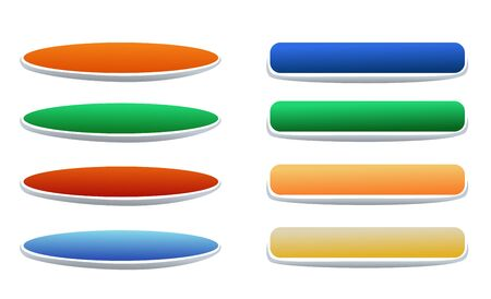 Set of buttons different colors for web design. Vector illustration 矢量图像
