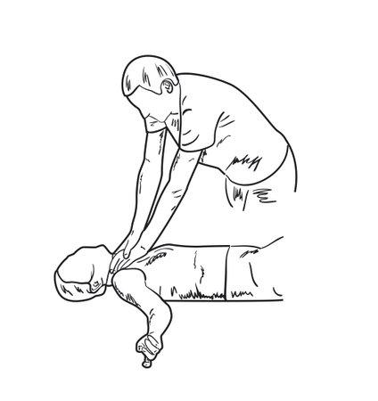 Man commits crime, strangles a woman. Sketch, vector illustration Illustration