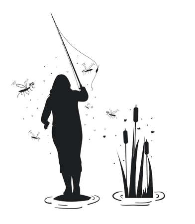 Fisherwoman with a fishing rod is standing on a stone in the water, there are many mosquitoes around. Vector illustration.