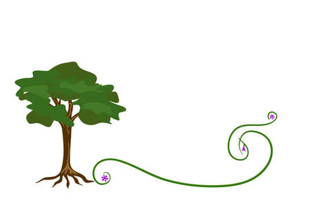 Cartoon tree and curl, design element. Vector illustration