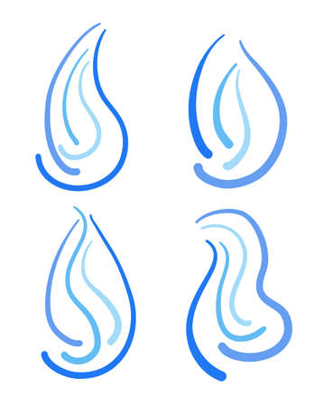 Set of blue doodle icons symbolizes natural gas. Vector illustration
