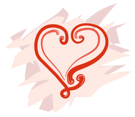 Elegantly curled red heart on a pink background. Vector illustration