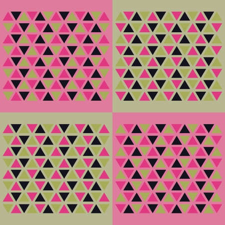 Green-pink seamless background with triangles. Vector illustration