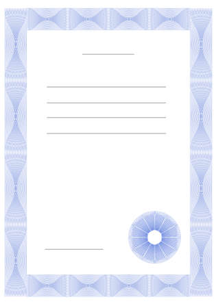Template for a diploma or certificate. Vector illustration