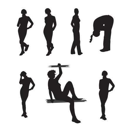 Set of silhouettes of girls in different poses. Vector illustration 矢量图像