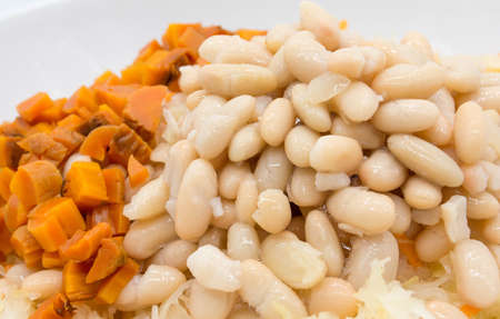 Canned beans and baked carrots diced, close-up