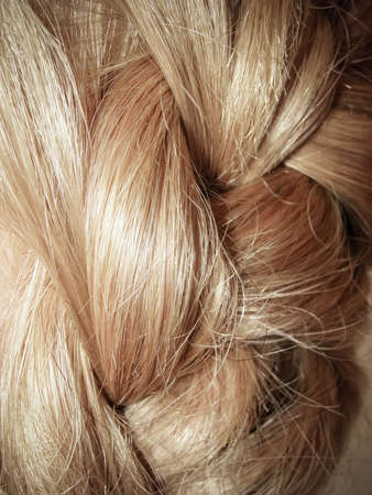 Synthetic hair in a braid, close up