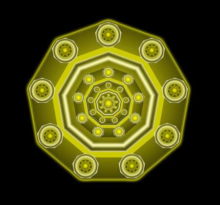 Golden magic amulet, beautiful pattern, design element