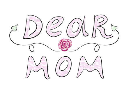 Hand drawn text Dear Mom with a rose and a curl. Vector illustration 矢量图像