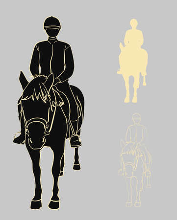 Set of silhouettes and contours of a rider on a horse. Vector illustration