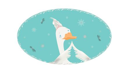 Vector christmas goose card
