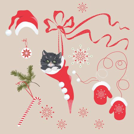 Vector Christmas set with cat, sock, mitten, hat
