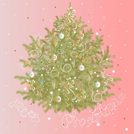 puffed: Vector Christmas fir tree on rose background