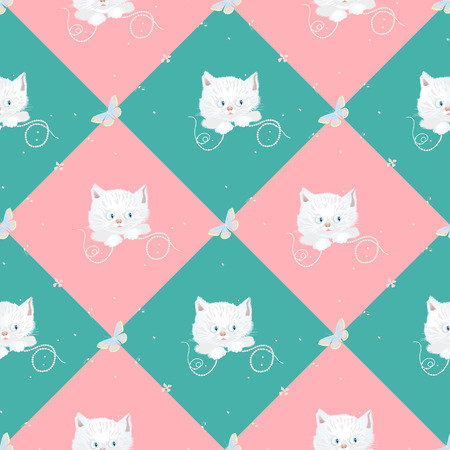 Vector Pattern with kittens and butterflies on green and pink square