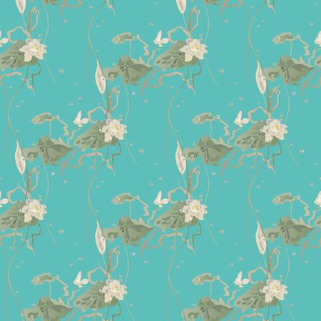 Nénuphar, fleurs de lotus feuilles et plaquettes grandir parmi les bulles d'air. Vector seamless pattern sur fond vert