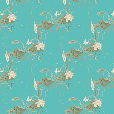 Water lily, lotus flowers leaves and pads grow among air bubbles. Vector seamless pattern on green background