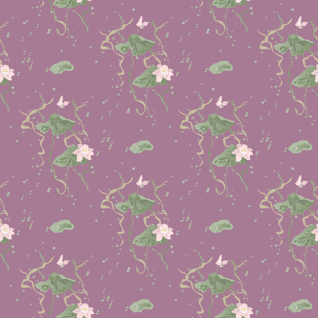 Water lily, lotus flowers leaves and pads grow among air bubbles. Vector seamless pattern on pink background