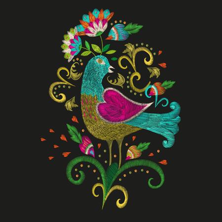 Hafty kolorowe etniczne wzorek kwiatowym. Wektor tradycyjny ludowy ptak z kwiatami ozdoba na czarnym tle.