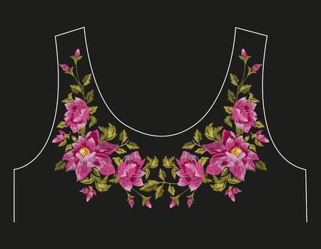 Broderie coloré ligne de cou motif floral avec des roses de chien. Vector fleurs folkloriques ornement sur fond noir.