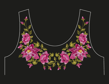 Embroidery colorful neck line floral pattern with dog roses. Vector traditional folk flowers ornament on black background.
